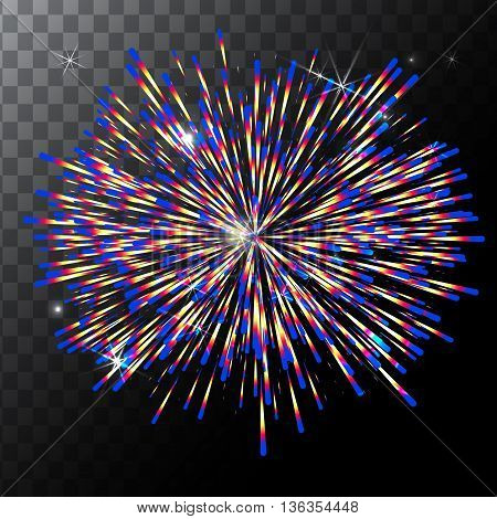 Vector isolated colorful fireworks on a transparent background. EPS