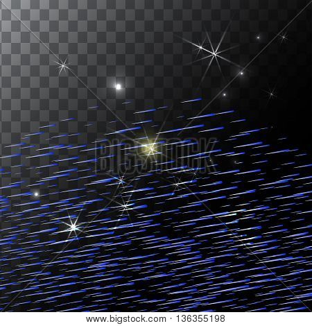 Abstract Bright Falling Star - Shooting Star with Twinkling Star Trail on transparent Background - Meteoroid, Comet, Asteroid - Backdrop Vector Illustration EPS