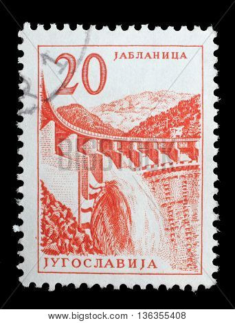 ZAGREB, CROATIA - JUNE 14: Stamp printed in Yugoslavia shows a Hydroelectric works, Jablanica, from series