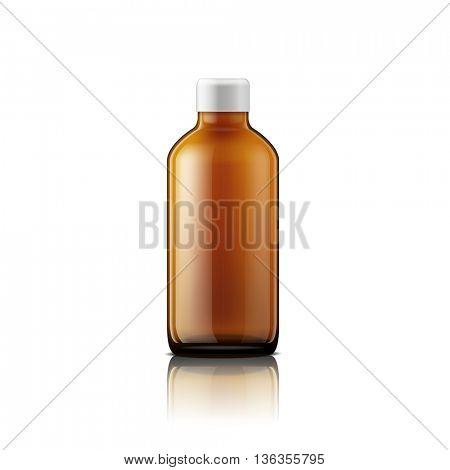 Isolated medicine bottle on white background. Empty medicine bottle for drugs, tablets, capsules. Vector illustration