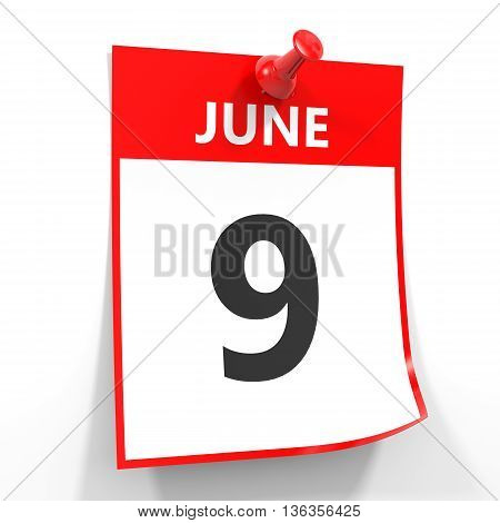9 June Calendar Sheet With Red Pin.