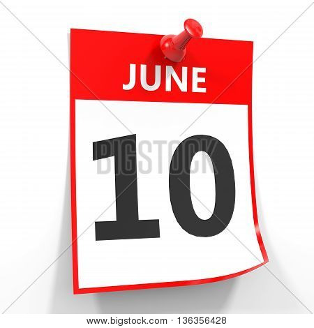 10 June Calendar Sheet With Red Pin.