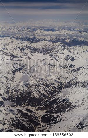 Nice of bird eye view of Himalaya range on the way to Leh Ladakh india.