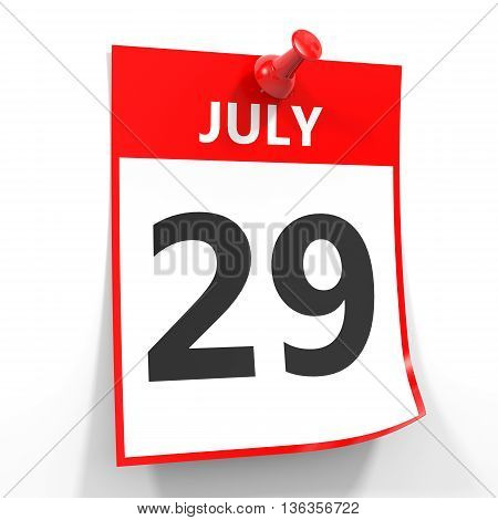 29 July Calendar Sheet With Red Pin.