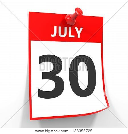 30 July Calendar Sheet With Red Pin.