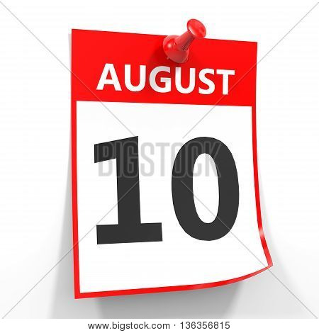 10 August Calendar Sheet With Red Pin.