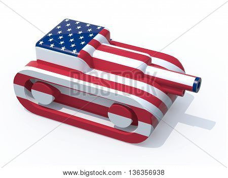 toy tank colored with usa flag 3d illustration