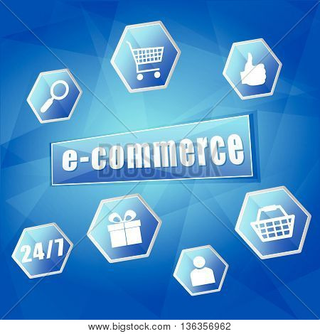 e-commerce and business internet concept signs - text and symbols in hexagons over blue background, flat design, vector