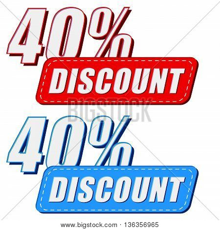 40 percentages discount in two colors labels, business shopping concept, flat design, vector