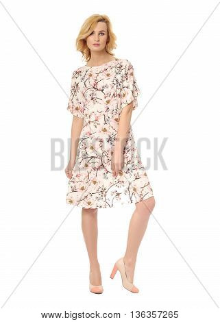 Beauty Blonde Woman In Sexy Dress Isolated On White