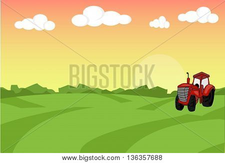 Farm flat landscape with tractor. Organic food concept for any design. Farm landscape concept. Farm landscape illustration. Farm landscape background. Farm background. Farmland concept.