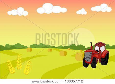 Farm tractor with sheaf. Harvest. Farm landscape illustration. Field wheat background. Farm sunrise background. Vector illustration