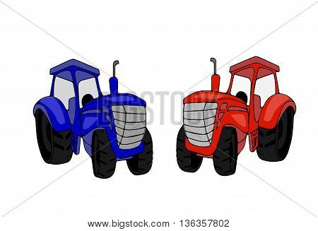 Flat tractor on white background. Vector illustration.