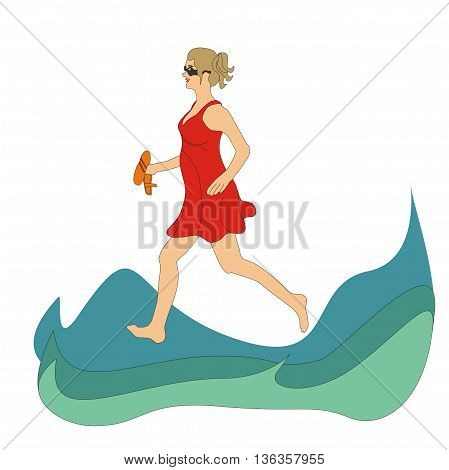 Illustration girl wearing a red dress running on the waves of the sea