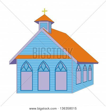 Illustration blue christian church isolated on white background