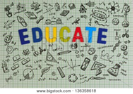 Education Sketch Design On Notebook With Copy Space. Education Concept Thinking Doodles Icons Set. S