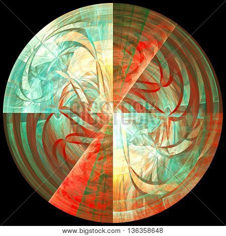 Multicoloured sphere of cosmic mind. 3D illustration. Sacred geometry. Mysterious psychedelic relaxation pattern. Fractal abstract texture. Digital artwork graphic design astrology alchemy magic.