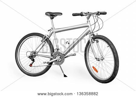 Silver colored unpainted entry-level mountain bike isolated on white with clipping path