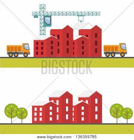 Construction web site building a house vector flat eps10