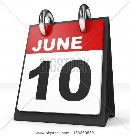 Calendar On White Background. 10 June.