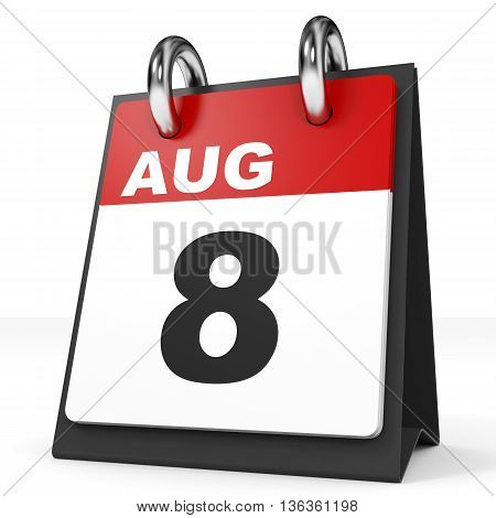 Calendar On White Background. 8 August.