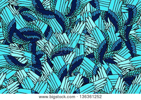 Seamless fantasy pattern of wings in blue palette- stock vector