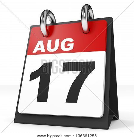 Calendar On White Background. 17 August.