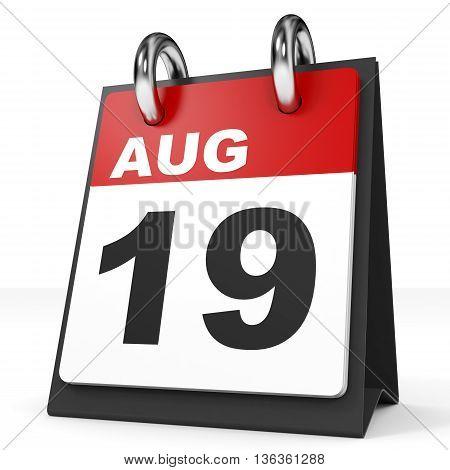 Calendar On White Background. 19 August.