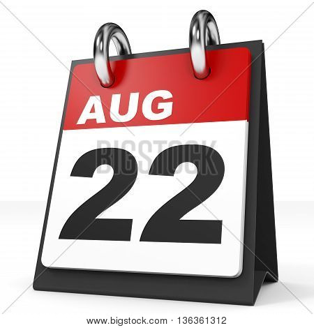 Calendar On White Background. 22 August.