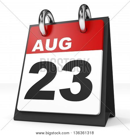 Calendar On White Background. 23 August.