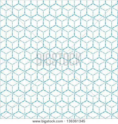 blue geometric dot line pattern background vector illustration image with light blue dot line squares