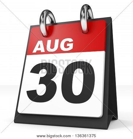 Calendar On White Background. 30 August.