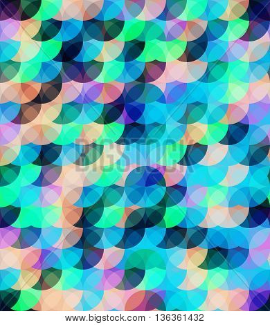Bright color seamless circle pattern. Contrast and pastel colors transparent objects eps 10