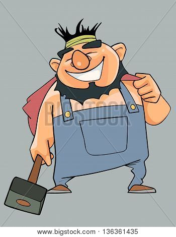 Cartoon cheerful man in overalls with a hammer in his hand