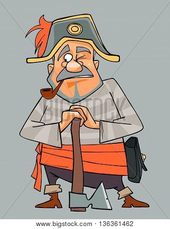 cartoon man in clothes of pirate with an ax