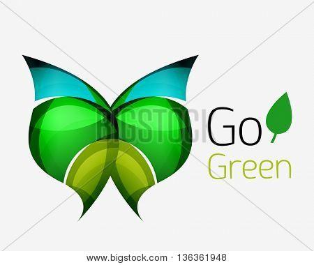 Go green abstract nature logo. Vector illustration