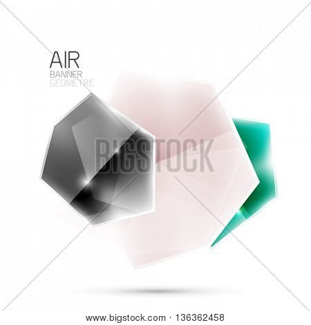 Glossy elements. Geometric abstract shapes on white. Abstract background. Vector blank illustration