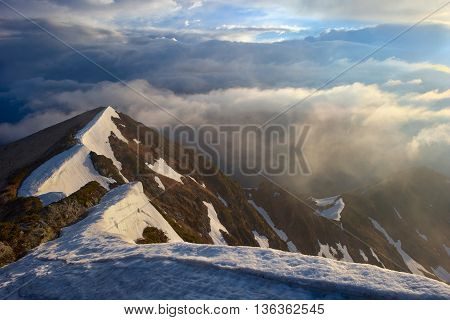 Dramatic Light In The Carpathian Mountains, Early Spring