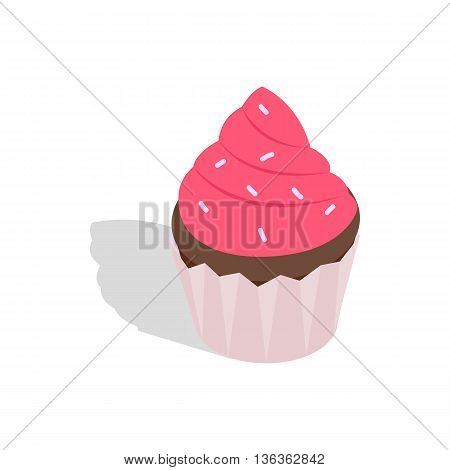 Cupcake icon in isometric 3d style isolated on white background. Baking symbol