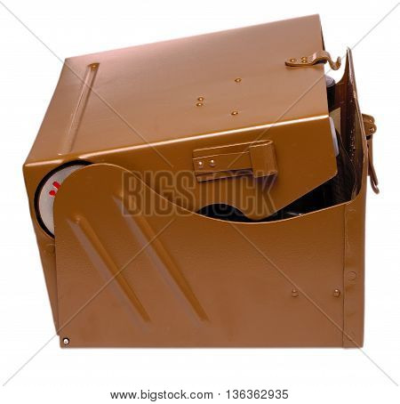 Brown metal military box cut out on white background