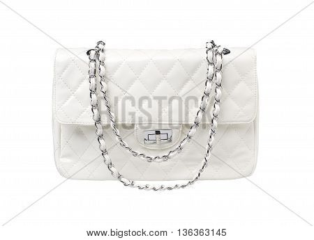 Close up white female bag on white background