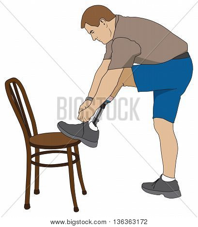 Left leg amputee using chair to tie his shoe