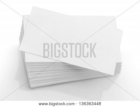 Close up stack of blank business cards