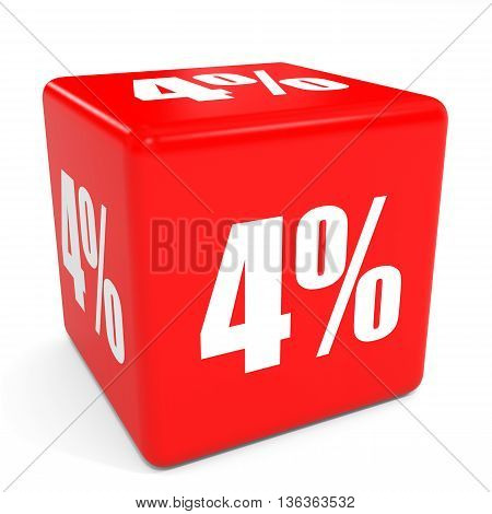3D Red Sale Cube. 4 Percent Discount.