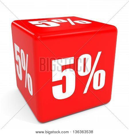 3D Red Sale Cube. 5 Percent Discount.