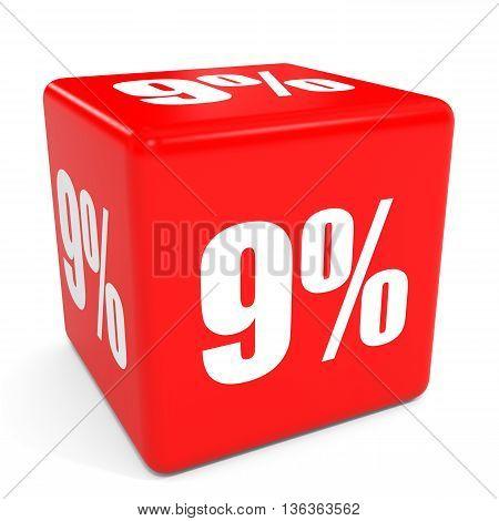 3D Red Sale Cube. 9 Percent Discount.