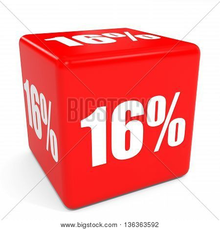 3D Red Sale Cube. 16 Percent Discount.