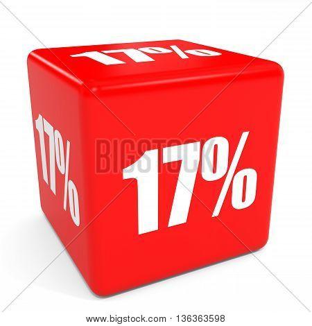 3D Red Sale Cube. 17 Percent Discount.