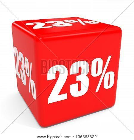 3D Red Sale Cube. 23 Percent Discount.