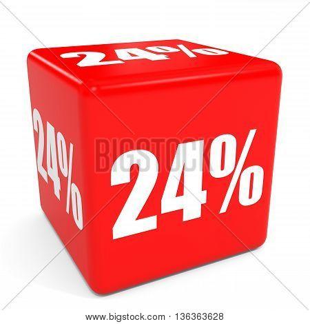 3D Red Sale Cube. 24 Percent Discount.
